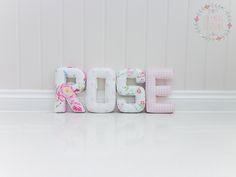 R - English Rose chintz, O - Pink Love Hearts, S - Bird Trail Chintz, E - Baby Pink Gingham