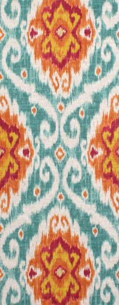 Pretty orange and blue ikat fabric (Iman Ubud Sunstone)