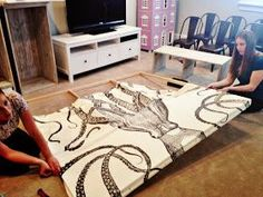 How to turn a large piece of fabric (shower curtain, tablecloth, sari, etc) into a stretched canvas-- on the cheap.