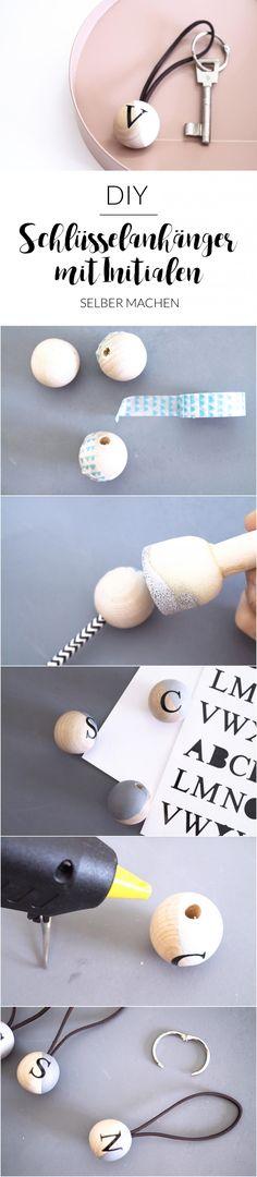 DIY Schlüsselanhänger mit Initialen | Schlüsselanhänger selber machen | Personalisierte Schlüsselanhänger | Holz | Leder | Schlüsselanhänger mit Holzkugel | Accessoires selber machen | Geschenkideen | persönliches Geschenk | einfach | paulsvera