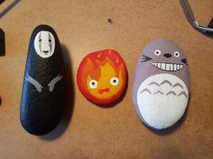 Ghibli calcifer noface and tottoro painted rock