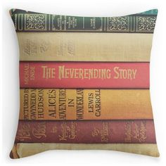 This bookish throw pillow looks like a stack of books. You can never go wrong with a big ol' stack of books. Much softer than actual books, too, for nestling purposes.