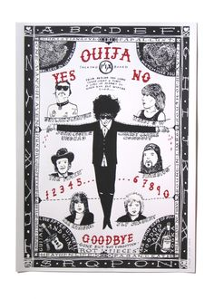 Limited Edition Screenprints - Gone but not forgotten Ouija print by Harry Malt. This guy used to work on a pig farm. After moving to London (England) to further his career he went to art college and is now an internationally successful artist and illustrator.