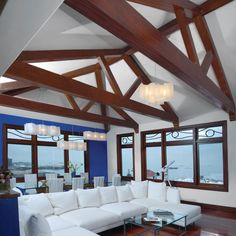 ArchitecturalDepot.com - BMH8X10X144ELM Vaulted Ceiling Lighting, Ceiling Beams, Living Room Lighting Design, Living Room Designs, Diy Design, Interior Design, Design Ideas, Salon Design, Faux Wood Beams