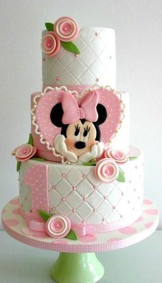 Ideas For Birthday Cupcakes Fondant Girls Minnie Mouse Torta Minnie Mouse, Bolo Do Mickey Mouse, Mickey And Minnie Cake, Bolo Minnie, Mickey Cakes, Pink Minnie, Baby Cakes, Girl Cakes, Cupcake Cakes
