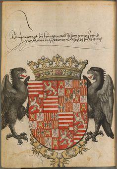 Coat of arms of Ferdinand, King of Hungary and Bohemia (Emperor Ferdinand I). Sammelband mehrerer Wappenbücher, Süddeutschland (Augsburg ), 1530.
