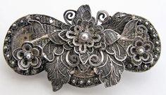 Antique Cannetille Filigree Brooch Vintage Art Nouveau Deco Flower Floral Pin #Unbranded