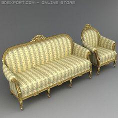 3D Model Armchair and sofa classic c4d, obj, 3ds, fbx, ma, lwo 21818