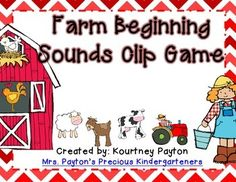 Practice beginning sounds with a farm theme using this Farm Beginning Sounds Clip Game FREEBIE!