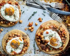 Spicy Chickpeas and Fried Egg Flatbread