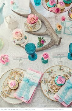 pink & turquoise tea party inspiration