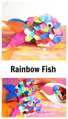 Arty Crafty Kids - Craft - Craft Ideas for Kids - Tissue Paper Rainbow Fish