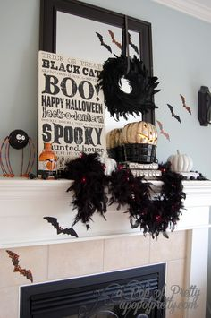 Halloween glam, mantel this year!