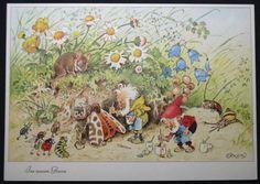Künstlerkarte, sign. Fritz Baumgarten, Zwerge, Maus, Schnecke, Käfer, Raupe   eBay