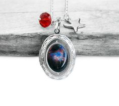 Cosmic Galaxy, Colorful Supernova, Swarovski Crystal, Star, Silver Picture Locket Sterling Silver Necklace