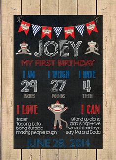Sock Monkey Birthday Chalkboard Poster // First Birthday Chalkboard on Etsy