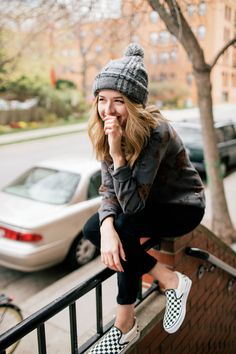 Chelsea Lane of Zipped shows us her Fall style in Vans Girls apparel and Vans Checkerboard Slip-Ons