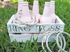 Games for the lawn brilliant! (But in baby blue for my baby boy) Love how they have been designed with a wedding theme. You could paint the bottles in your wedding theme colour! - Click image to find more weddings posts