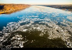 Ice Floes on Hudson River Stock Photo