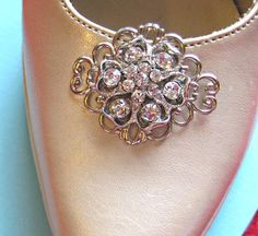 """Wedding Shoe Clips, Bridal  Accessories, """"Blooming""""Christmas Gift, Stocking Stuffer, Formal Holiday Jewelry. $29.50, via Etsy."""