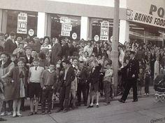 Opening of Powers Supermarket 1965 Thanks to Ballyfermot Library for the Photo Mary Stone, Ireland Homes, Dublin City, Irish Celtic, Emerald Isle, Dublin Ireland, Photo Archive, Old Photos, Over The Years