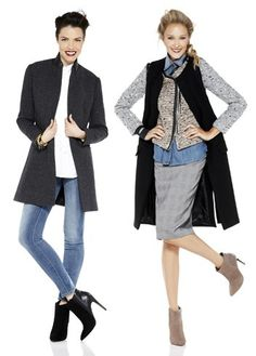 Go casual chic in a plaid topcoat ruffled blouse and denim. Layer upfor fall with a glen plaid skirt denim shirt tweed jacket and wool vest.
