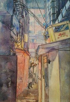 Japan Art, Tokyo, The Creator, It Works, Watercolor, Pen And Wash, Japanese Art, Watercolor Painting, Tokyo Japan