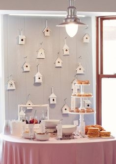 One Charming Party | Birthday Party Ideas › bird house backdrop and party food