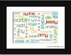 Use Wordle for class list and then frame to display...