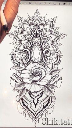 Mandala Rose Edelstein Tattoo tatuagem tatuagem cascavel tatuagem de rosa tatuagem delicada tatuagem e piercing manaus tatuagem feminina tatuagem moto clube tatuagem no joelho tatuagem old school tatuagem piercing tattoo shop Mandala Tattoo Design, Dotwork Tattoo Mandala, Mandala Tattoo Sleeve, Butterfly Mandala Tattoo, Arm Tattoos, Rose Tattoos, Body Art Tattoos, Sleeve Tattoos, Lace Flower Tattoos
