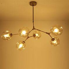 Northern Europe Vintage Gold Chandelier 6 heads Glass Molecules Pendant Lights Living Room Bedroom Dining Room Light Fixture 5595387 2017 – ₪1,413.12