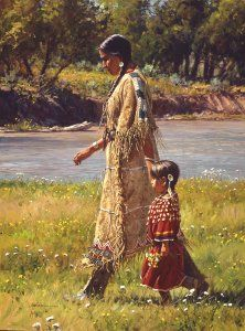 Summer on the Greasy Grass - Martin Grelle gives us a taste of summer life along the Greasy Grass River in this charming piece. It is the third release in his Touch of Art Collection.  A little girl and her mother enjoy the summer flowers along the river that makes life good for them.