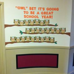 Beginning of the school year. Owl themed classroom. PreK.