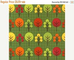 SALE City Centre Trees on Green From Robert by StitchStashDiva