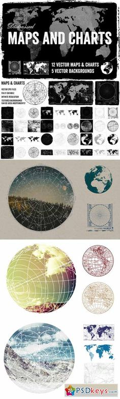 World map vector 25xeps brushes vectors pinterest distressed vector maps charts 27353 gumiabroncs Images
