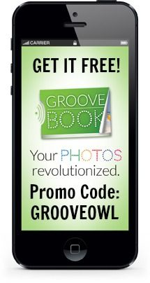 """Groovebook is a FREE app that lets you choose up to 100 photos from your camera roll into a beautiful 4.5"""" x 6.5"""" photobook for FREE and mails it to you monthly.  Your photos are printed on glossy photo paper and perforated for easy removal. That means you can share, frame, decorate, scrapbook and more. All this for FREE and just $2.99 each month for shipping and processing! Use GROOVEOWL to get free S!  Start building your own FREE GrooveBook today!"""