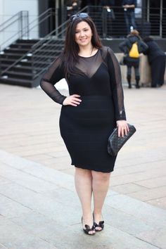 Plus Size Fashion - An ASOS body suit & a body con skirt. Love a classic all-black look!