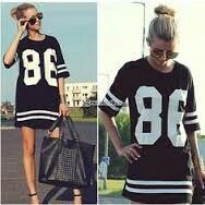 86 Print Shirt Women Long Tops Summer Celebrity Number Loose T Style w0fgxq6Y
