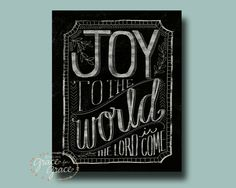 "9x12x1.5"" Joy to the World - Christmas Decor - Mounted Giclee Print - Black and White, Chalk Inspired, Typography by Grace for Grace. $40.00, via Etsy."