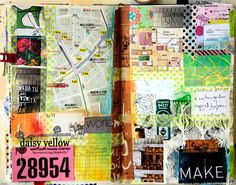 Prompt60#16 - daisy yellow - let's incorporate maps into an art journal spread.