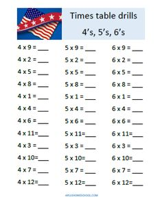 Homeschooling Adventurez: FREE Multiplication tables drill sheet: 4's, 5's, and 6's