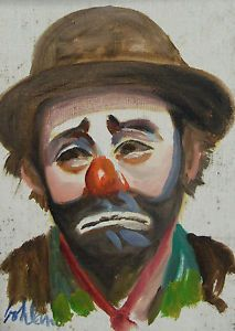 Orig George Bohland Clown Portrait French Quarter New Orleans Louisiana Painting Clown Images, Clown Photos, Emmett Kelly Clown, Famous Clowns, Laugh Now Cry Later, Clown Paintings, Send In The Clowns, Clowning Around, Evil Clowns
