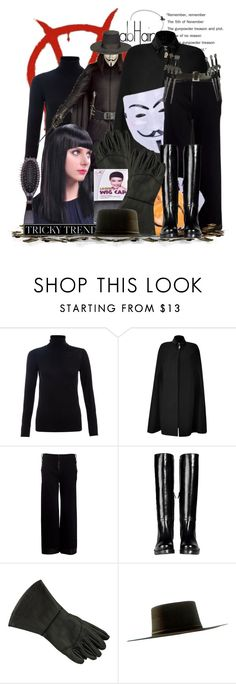 """V For Vendetta With AbHair (with soundtrack)"" by keti-lady ❤ liked on Polyvore featuring Monsoon, Young & Reckless, Salvatore Ferragamo, Masquerade, Pedro Lourenço, COSTUME NATIONAL, brush, wig, mask and sweater"