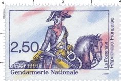 Timbre : 1991 Gendarmerie Nationale 1791-1991 | WikiTimbres