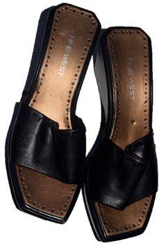9d0aff2489c Nine West Womens Wedge Sandals Shoes Slip On Black Size 7 M gm