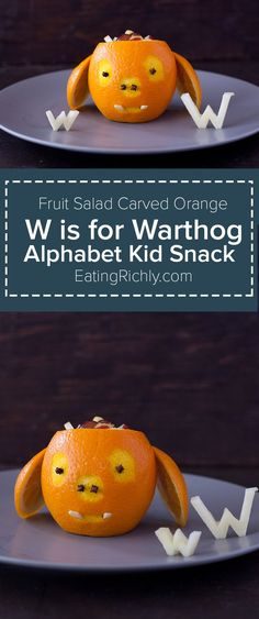 It takes less than 10 minutes to make this cute carved orange warthog & fill it with a toddler fruit salad. It's a great alphabet lesson for your kiddo too! Alphabet kid snack From http://EatingRichly.com