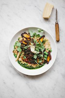 PEARLED SPELT RISOTO WITH ROASTED CARROTS & PARSNIP, PEA SPROUTS, RED WOOD SORREL AND CHIVE OIL