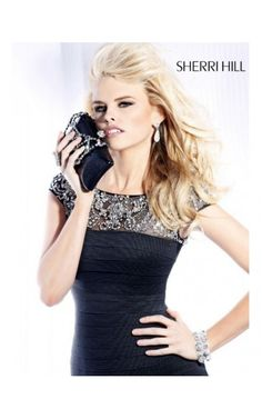 2014 Sherri Hill 2933 Banded Cocktail Dress BlackOutlet