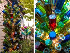 Here are 60 creative DIY glass bottle ideas for outdoor living spaces. From bottle trees to bottle walls, recycled glass bottles become outdoor art. Wine Bottle Garden, Wine Bottle Trees, Wine Bottle Display, Empty Wine Bottles, Wine Bottle Art, Diy Bottle, Wine Bottle Crafts, Wine Tree, Bottle Wall