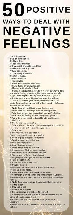 Here's a list of 50 positive ways to cope with negative feelings. It's important… Here's a list of 50 positive ways to cope with negative feelings. It's important to use healthy coping strategies when we're sad, angry, or hurt. Positive Thoughts, Quotes Positive, Positive Vibes, How To Stay Positive, Positive Feelings, Negative Emotions, Positive Psychology, Hurt Feelings, Staying Positive